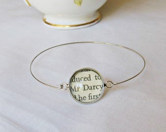 Jane Austen Stacking Bangle Pride and Prejudice Bracelet. Mr Darcy Vintage Silver Text Name. Literature Jewelry Two Cheeky Monkeys Handmade