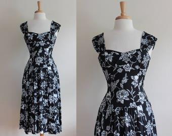 Vintage White & Black Floral Midi Dress