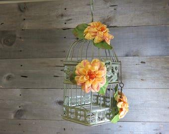 Birdcage Floral Arrangement Metal Home Decor Rustic Flowers Cottage Shabby Chic Wedding Centerpiece