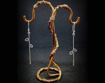Sterling Silver Bar Earrings - Minimal Earrings - Stick Earrings - Sister Earrings Gift - Nature Inspired Delicate Earrings - Long Earrings