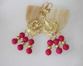 Gypsy Earrings, Bohemian Jewelry, Gold Chandelier Earrings, Raspberry Pink Fossil Beads