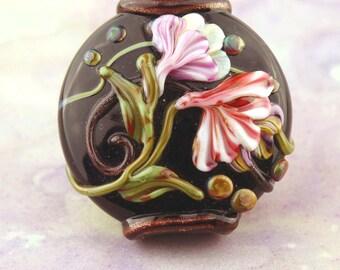 Lampwork Bead,  Floral Lentil Glass Focal, Black, Pink,  Green