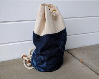 Travel Light - Medium sized Printed Cotton Backpack, Sailor bag, Bucketbag in Denim and Canvas