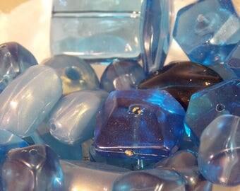 Blue Bead Lot~Lot of Plastic Beads~DIY Jewelry Supply