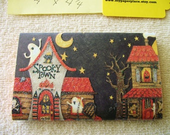 SPOOKY TOWN   - 6  Matchbook Notepads -  Halloween - 15 sheets-   extra large 4 x 4.5 inch size-