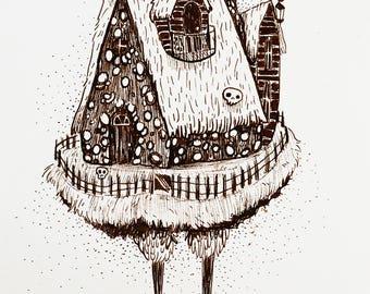 Baba Yaga House-Original Illustration
