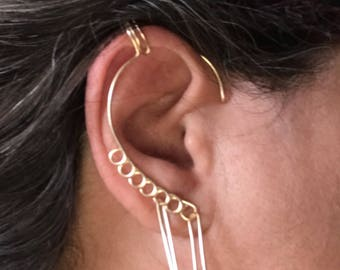 Harley Quinn inspired Ear Cuff,  Vine Jewelry, ear jewelry, ear climber, ear wrap, ear jacket, non pierced