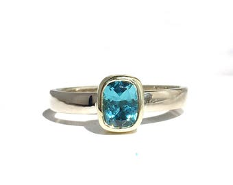 Not a Cloud in Sight, Maine Tourmaline in 14k White Gold, Handmade in Maine