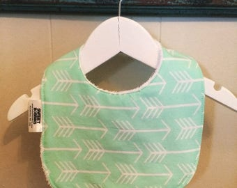 On Sale Mint Arrows - Infant or Toddler Bib - Terry Cloth Backing - Reversible with ADJUSTABLE Snaps