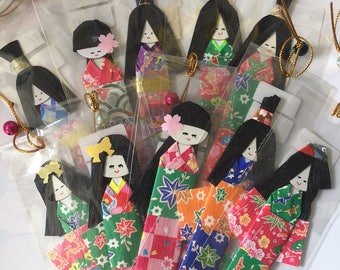 Handmade Japanese origami paper dolls - shiori bookmark dolls - set of 10 - great for gift or embellishment