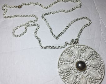 Vintage Enamel White Pendant with Chain Necklace