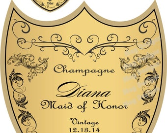Birthday Champagne Label and Collar for Cake - Custom artwork for Edible Printing