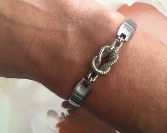 Knot Watching reclaimed vintage watchband bracelet with knot charm