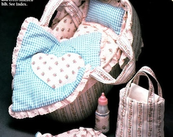 """14"""" Baby Doll SEWING PATTERN Doll & 4 Outfits~Bassinet~Blanket~Pillow~Layette~Full Size Patterns Not a Graph~Vintage Design~ PDF Download"""