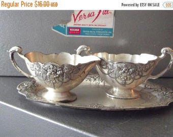 50% OFF EVERYTHING Beautiful Vintage 50s 60s Cottage Chic Hollywood Regency Petite Metal and Enamel Cream and Sugar Set