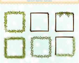 ON SALE square Frame clipart, square leaf wreath clipart, green Wreaths clipart, printable, instant download