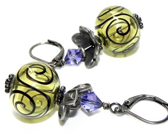 Mojito and Black Scroll hollow Lampwork beads Earrings - Purple Swarovski crystals - Gunmetal leverback earwires