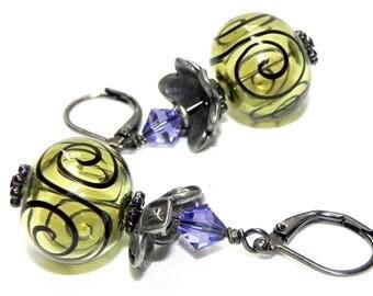 Mojito and Black Scroll hollow Lampwork beads Earrings - Purple Swarovski crystals - Gunmetal leverback earwires