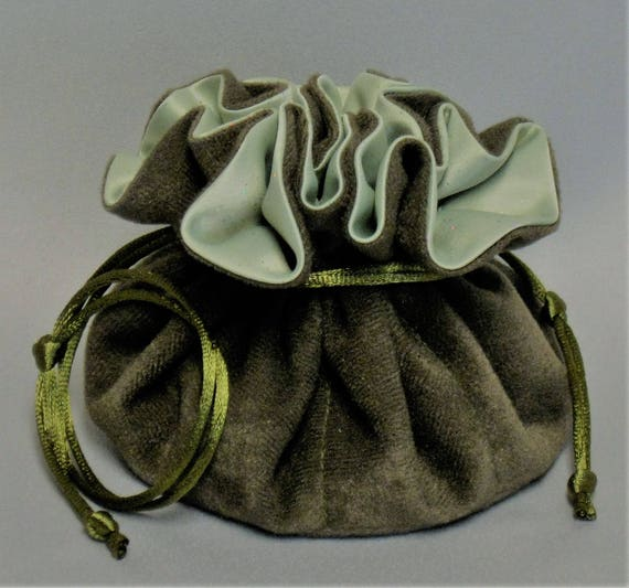 Jewelry Travel Tote---Drawstring Organizer Pouch---Olive Green Soft Suedecloth with Sparkle Satin----Medium Size