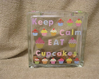 Sale 50% OFF Keep Calm Eat Cupcakes Glass Bloc Decor Bank