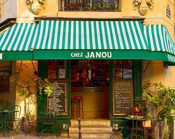 SUMMER SALE-Ends July 5- Paris Cafe Photo Chez Janou Restaurant Cafe Paris Decor Bistro Photograph France Print Wall Art Home Decor par174