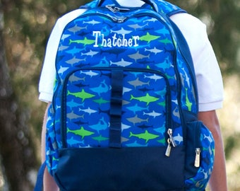 Backpack for Boys/Monogrammed/ Blue Shark/Jaws Back to School/Check out the Entire Collection