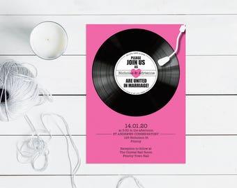 record wedding invitation - PRINTABLE - music themed wedding invitations, rock n roll wedding, retro vinyl record invite rsvp and insert,