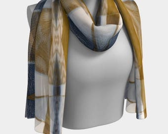 Gold and Shades of Blue Diamonds Woven Repeat Printed Scarf