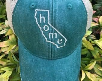 California Home State Monogram Baseball Hat, Women's Hat, State Outline Home Cap, Womens Baseball Cap, Trucker Hats, State Hat