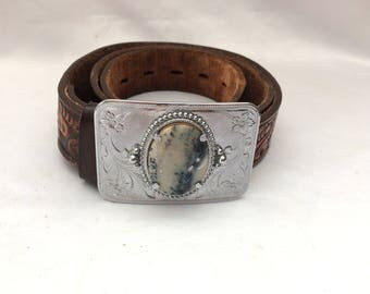 Vintage Tooled Western Leather Belt and Agate Buckle
