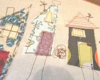 "Textile Hoop Art, Wall Art, Little Houses, community, embroidery Hoop Art, oval hoop 15"" by 8"""