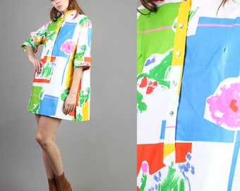 vintage 70s CATHERINE OGUST abstract RAINBOW dress size large L medium M / graphic print mini tent dress vivid 1970s