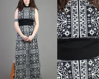 vintage 70s BLACK + WHITE DAMASK geometric dress size small medium S M / floral striped print empire cocktail party dress 1970s 60s 1960s