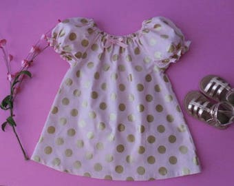 Girls and babies pink with gold dots peasant dress