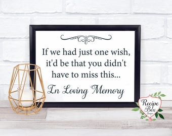 Heaven Wedding Sign, Wedding Memorial Sign, Memorial Table, One Wish, In Loving Memory Sign, Remembrance Sign 5x7 - 8x10 NO Frame