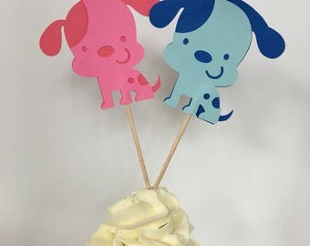 Puppy Dog Cupcake Toppers, Custom Colors
