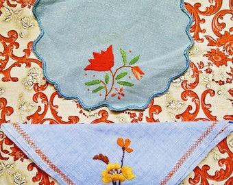 Vintage doilies, vintage linen lot, embroidered doilies. blue vintage doilies, vintage, embroidered flower, floral doiley, vintage craft lot