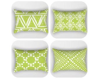 Lime Green Lumbar Pillow . Toddler Pillow . Geometric Pillow . Modern Bed Pillow . Rectangle Pillow . Green Pillow . Travel Pillow 14 x 20