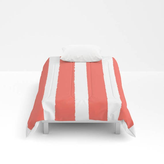 Coral and White Stripe Comforter - Twin Comforter - Queen Comforter - King Comforter Full Comforter  Salmon Twin Comforter Twin XL Bedding
