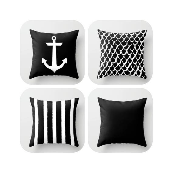 OUTDOOR Throw Pillow - Black and White Mermaid Pillow - Coastal Patio Cushion - Anchor Pillow - Stripe Pillow - 16 18 20 inch Outside Pillow