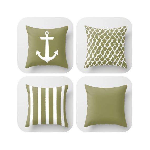 OUTDOOR Throw Pillow . Olive Mermaid Pillow . Coastal Patio Cushion . Anchor Pillow . Green Stripe Pillow . 16 18 20 inch . Outside Pillow