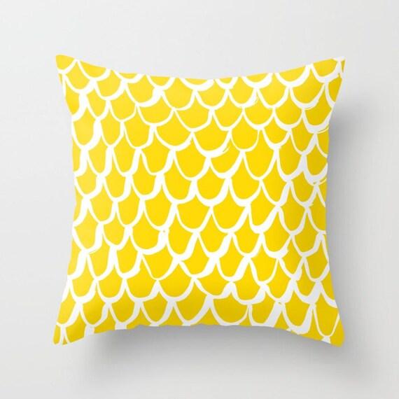 Yellow Mermaid Throw Pillow . Yellow and White Pillow . Yellow Cushion . Mermaid Pillow . Yellow Pillow . Mermaid Cushion 14 16 18 20 inch