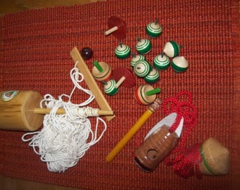 Lot of 16 Wood Toy Spinning Tops