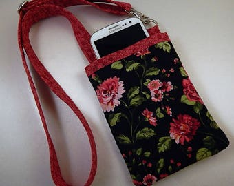 Open Top Pocket Easy Reach Cell Phone Pink Black Quilted  Lanyard Wallet Organizer Tote