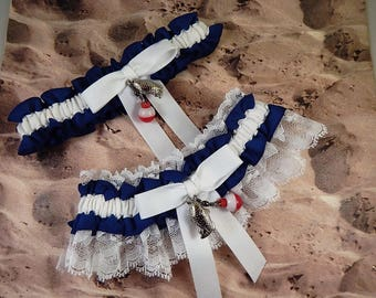 Fishing Navy Blue LInen look White Twill White lace Fish Bobber Charm Wedding Bridal Garter Toss Set