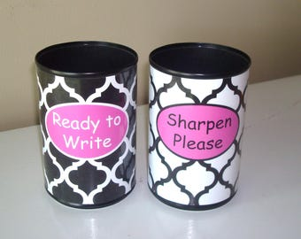 Black White Pink Moroccan Desk Accessories - Tin Can Pencil Holder with Labels - Classroom Organization - Teacher Gift   1042