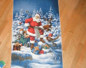 Winter Panel Traditional Santa Cheater Quilt Wall Hanging Winter Banner Nap Mat Play Mat  Door Decor Deer Father Christmas List Presents