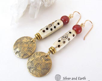 African Carved Bone Earrings, Red Jasper Earrings, Brass Tribal Earrings, African Earrings, Handmade Bold Exotic African Tribal Jewelry