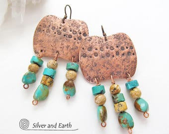 Natural Turquoise Earrings, Big Copper Earrings, Large Dramatic Earrings, Handmade Metalwork, Fringe Earrings, Bold Exotic Statement Jewelry