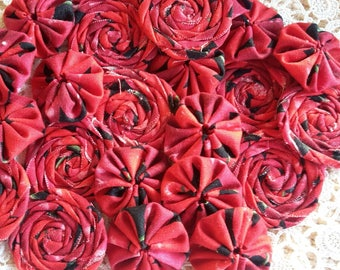 Handmade Rolled Fabric Rosette Yo Yo Lace Red Black Cherry Mix Scrapbooking Embellishment